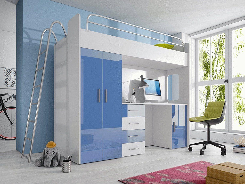 Malerisch Jugendzimmer Kleiderschrank Foto Von Kinderzimmer In Blau Weiss - Möbel Set