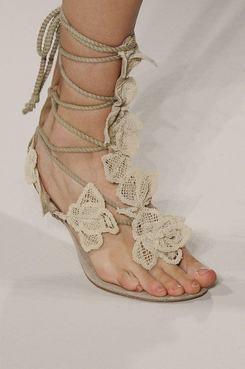Lace sandal by Alberta Ferretti