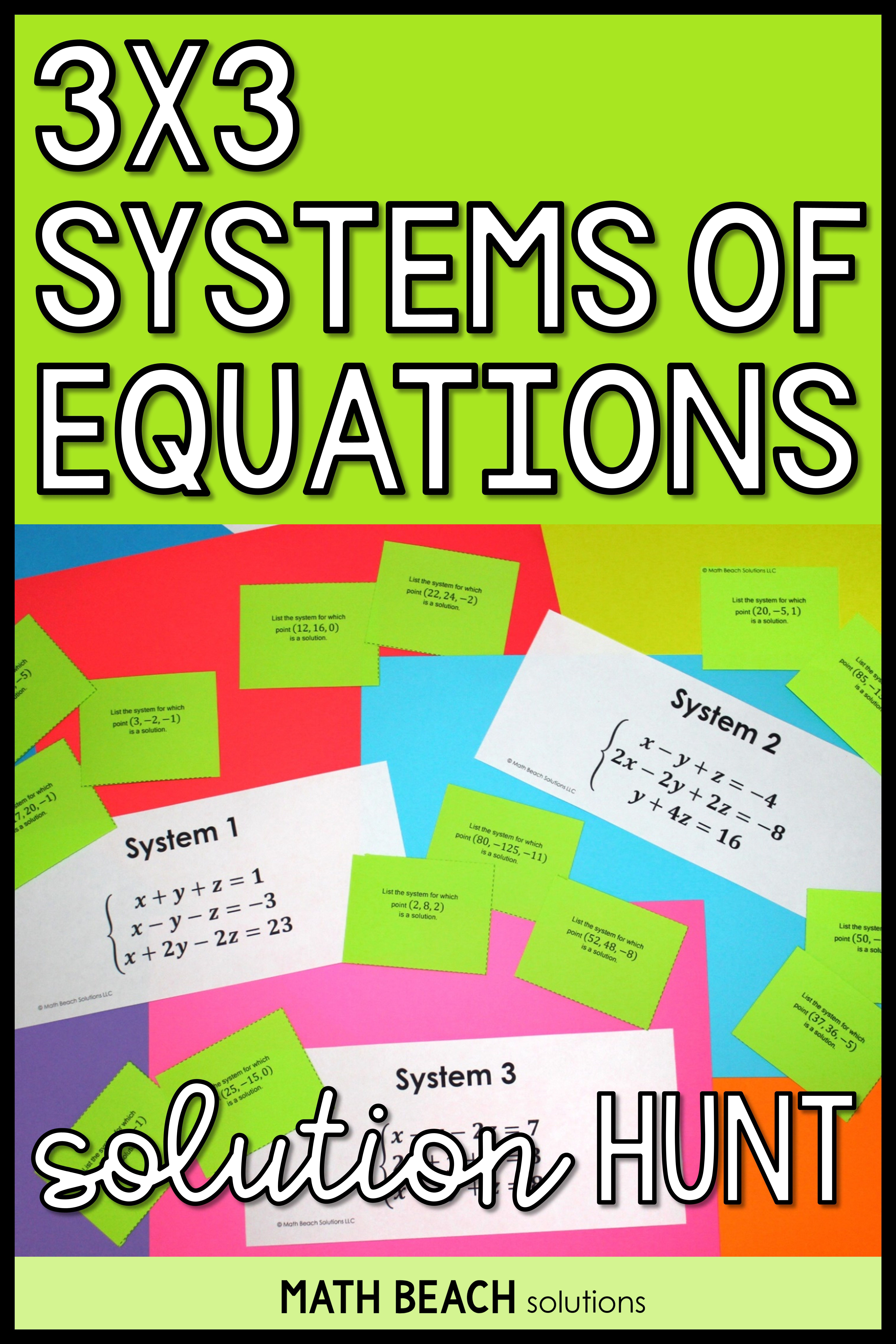 3x3 Systems Of Equations Solution Hunt Activity