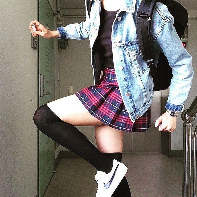 Instagram Photo By Eric Str8 Tennis Skirt Lover Jun 21 2016 At 5 22am Utc American Apparel Tennis Skirt Tennis Skirt Black Knee High Socks