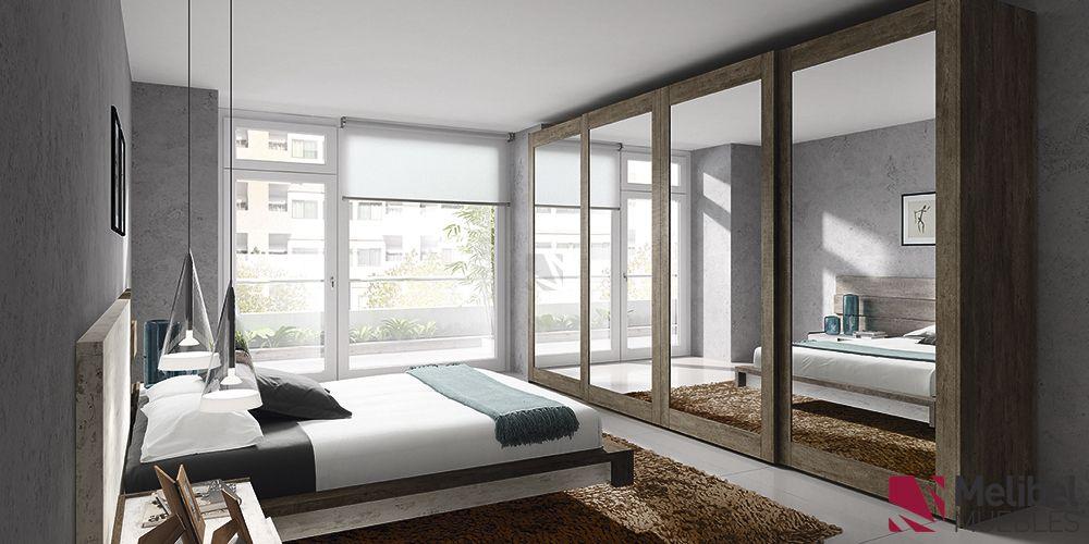 Armario correderas con marco de madera y cristal for Armarios altos para dormitorio
