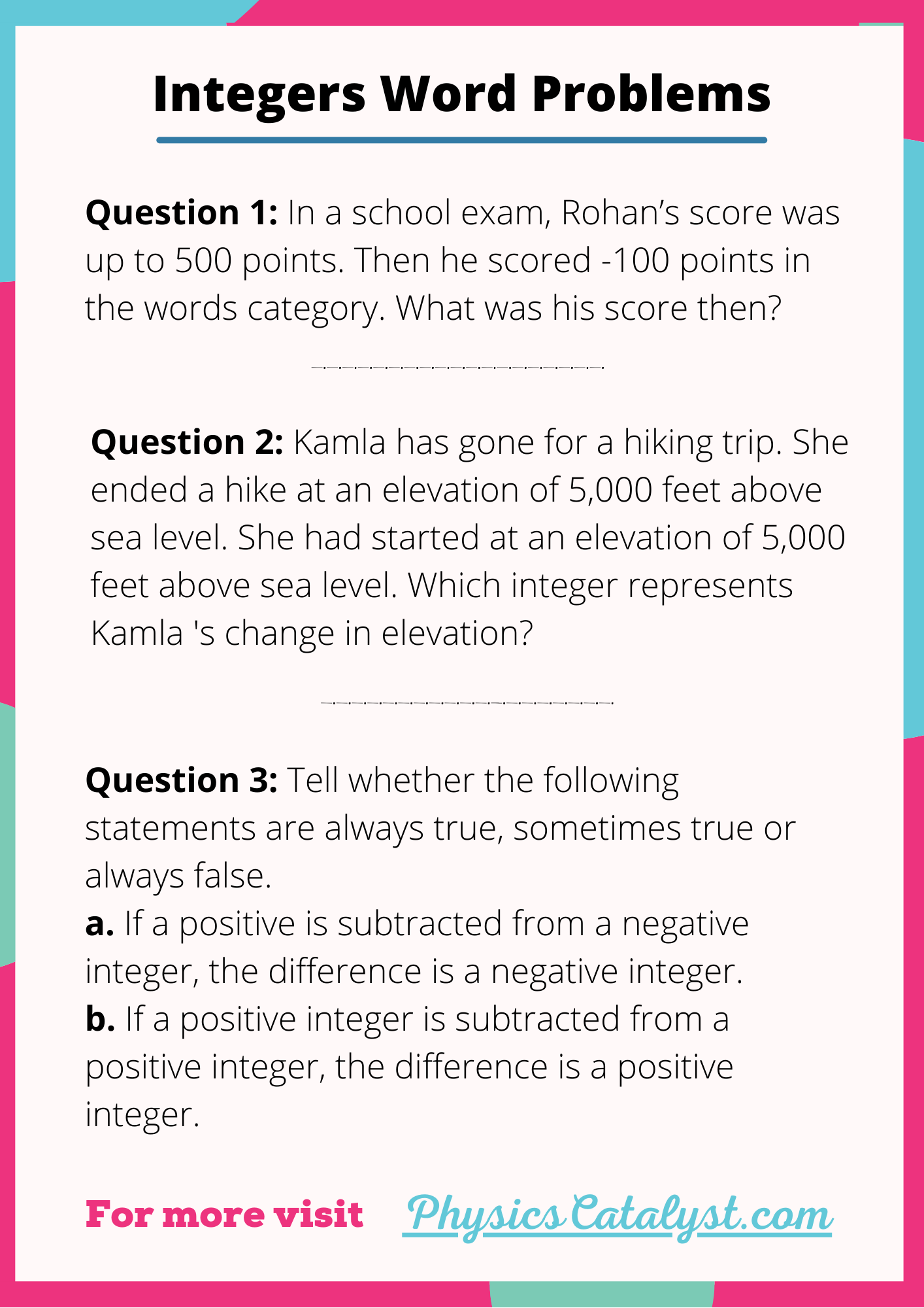 Integer Word Problems 7th Grade In