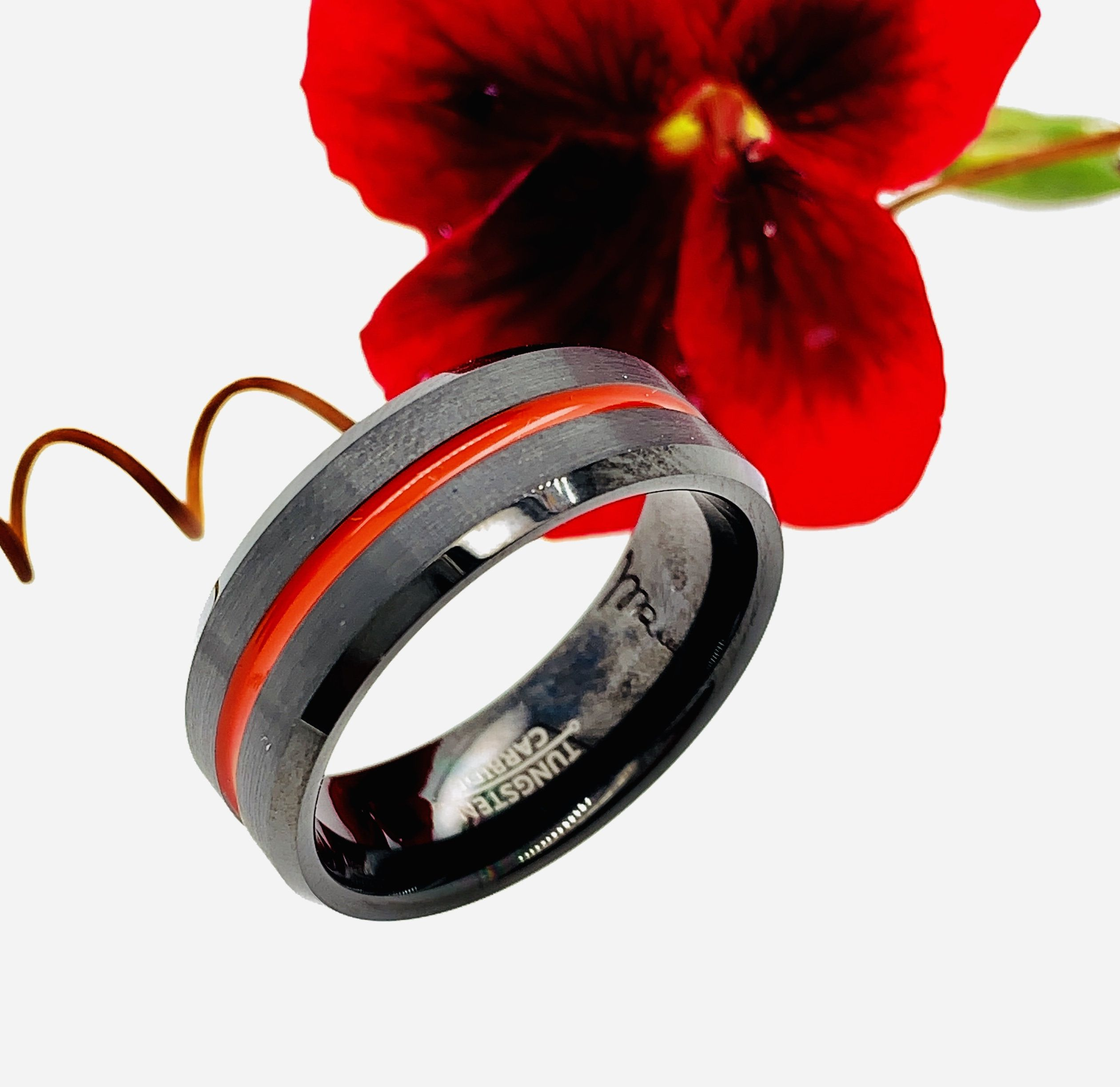 Tungsten Ring Firefighter Ring Red Black Ring Black Wedding Etsy Tungsten Wedding Bands Black Rings Red Tungsten Ring