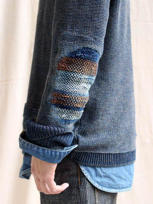 2726876efd78 Kapital Grunge Boro Shawl Pullover japanese menswear .... Beautiful repair  .Indigo .Blue .sashiko .boro .Denim .Jeans
