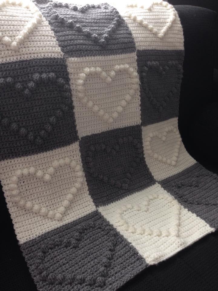 Bobble heart blanket | Crochet | Pinterest | Manta, Tejido y Ganchillo