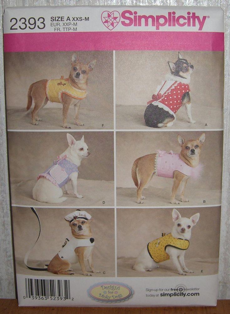 Dog Coats Pet Clothing Leash & Hat Sewing Pattern/Simplicity 2393/SZ ...