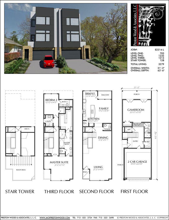 3 1 2 Story Townhouse Plan E2214 Narrow Lot House Plans Duplex