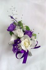 Mother Of Bride Ivory And Purple Rose Wrist Corsages Pale Faux Diamante