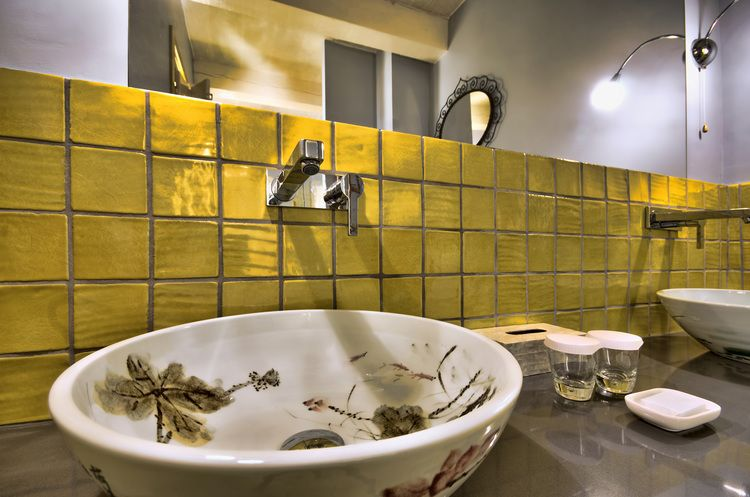 Wash-basin made from Chinese porcelain, bathroom decor and yellow ...