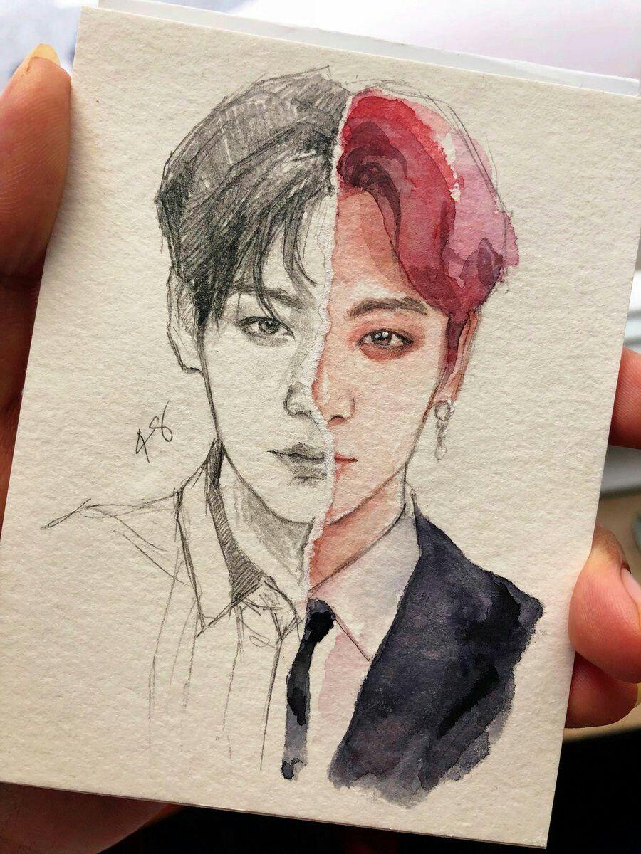 Pin oleh Kim Taehyung di BTS    방탄소년단   Sketsa, Lukisan
