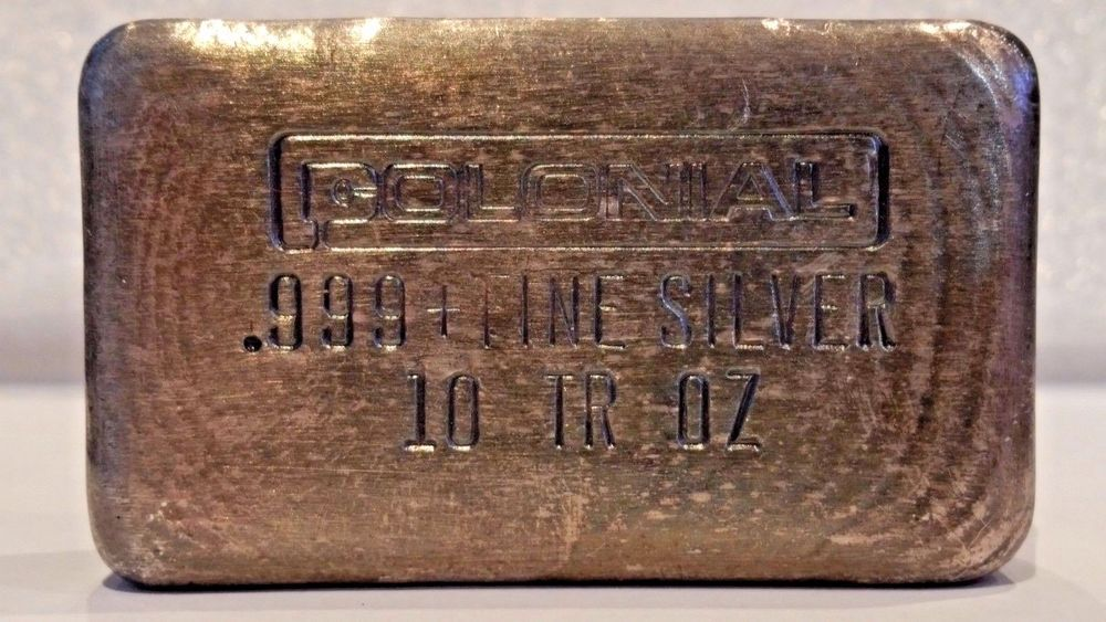 Rare Collectible Colonial Hand Poured 10oz Silver Bar Ingot Stamped Silver Bars Ingot Coins For Sale