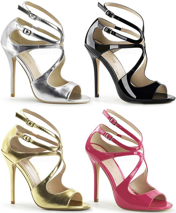 8c990081032 Pleaser Amuse-15 Strappy High Heel Sandals in silver