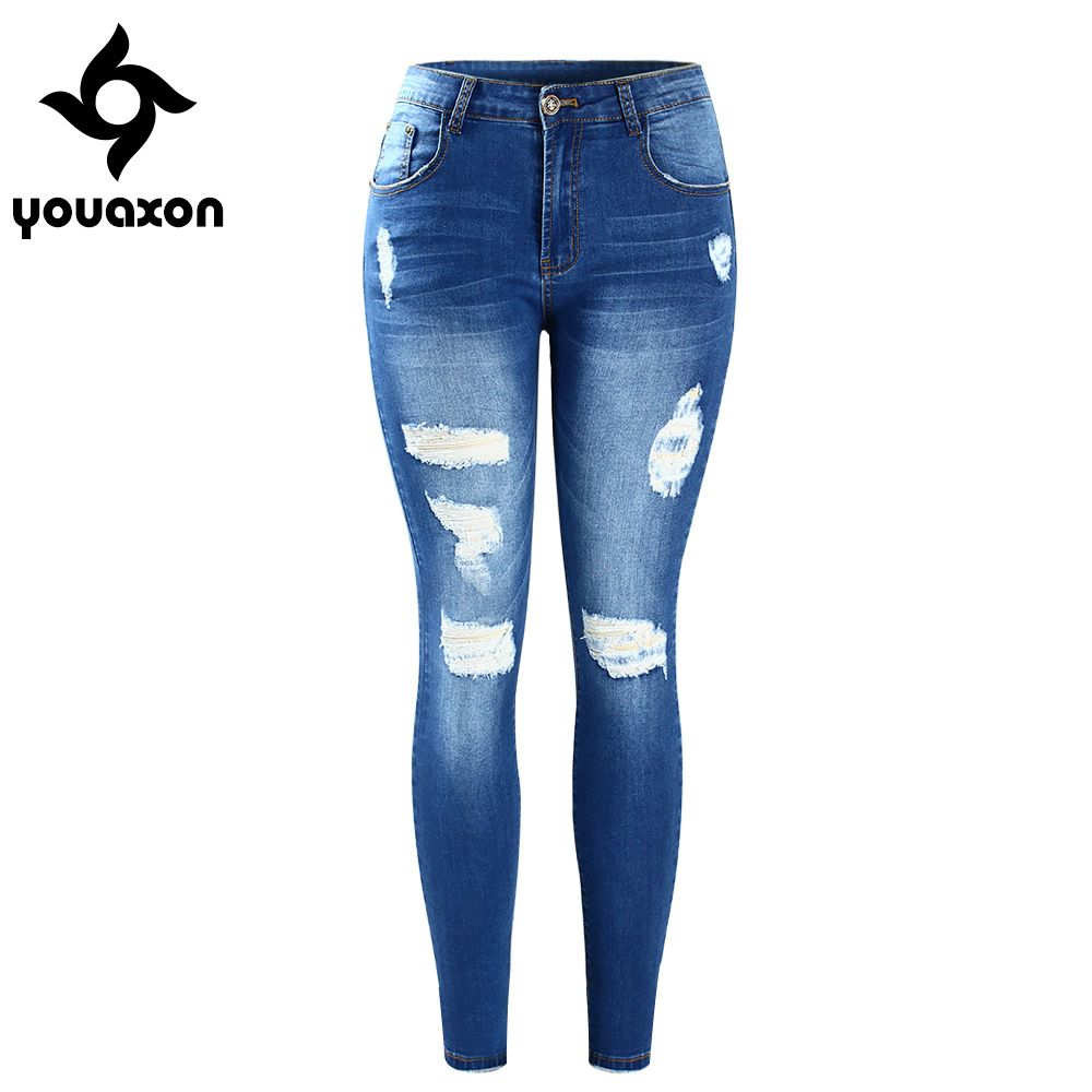 0d6c3c0ac1108 Find More Jeans Information about 2059 youaxon New Woman Stretchy Denim  Pants Trousers 5 Pockets Ripped Distressed Skinny Pencil Jeans For Women  Pantalon ...