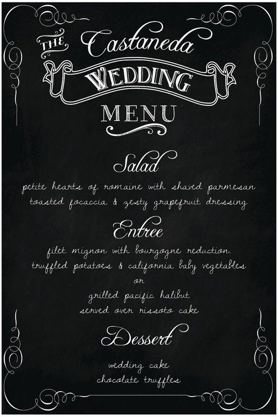 "Wedding Chalkboard MENU -Custom Menu - 24"" x 36"""