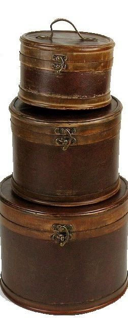 Round wooden boxes...