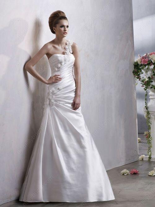 A-line One Shoulder Elastic Woven Satin Court Train Flower(s) Wedding Dresses