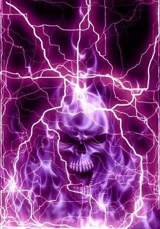purple lightning | Glowing Purple Lightning Skull Android ...