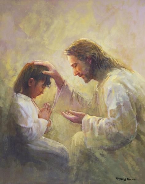 Prayer of Love is a painting that depicts Jesus Christ with his hand on a child's head blessing - Yongsung Kim   LDSart   Latter-day Saint Artwork   Christian Artwork