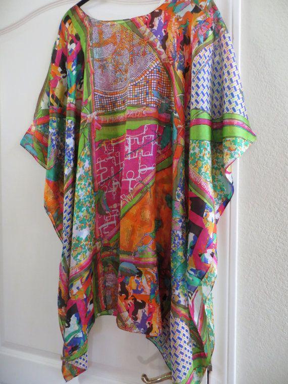 02e7c712634 Hermes Print 100% Silk Caftan, Silk Tunic, Silk Kaftan, Womens Silk Dress,  Coverup, Silk Blouse