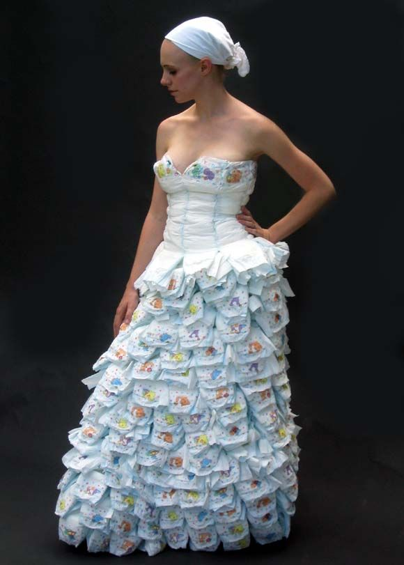 A Dress Made Of Diapers And Safety Pins Off The Wall And Strange