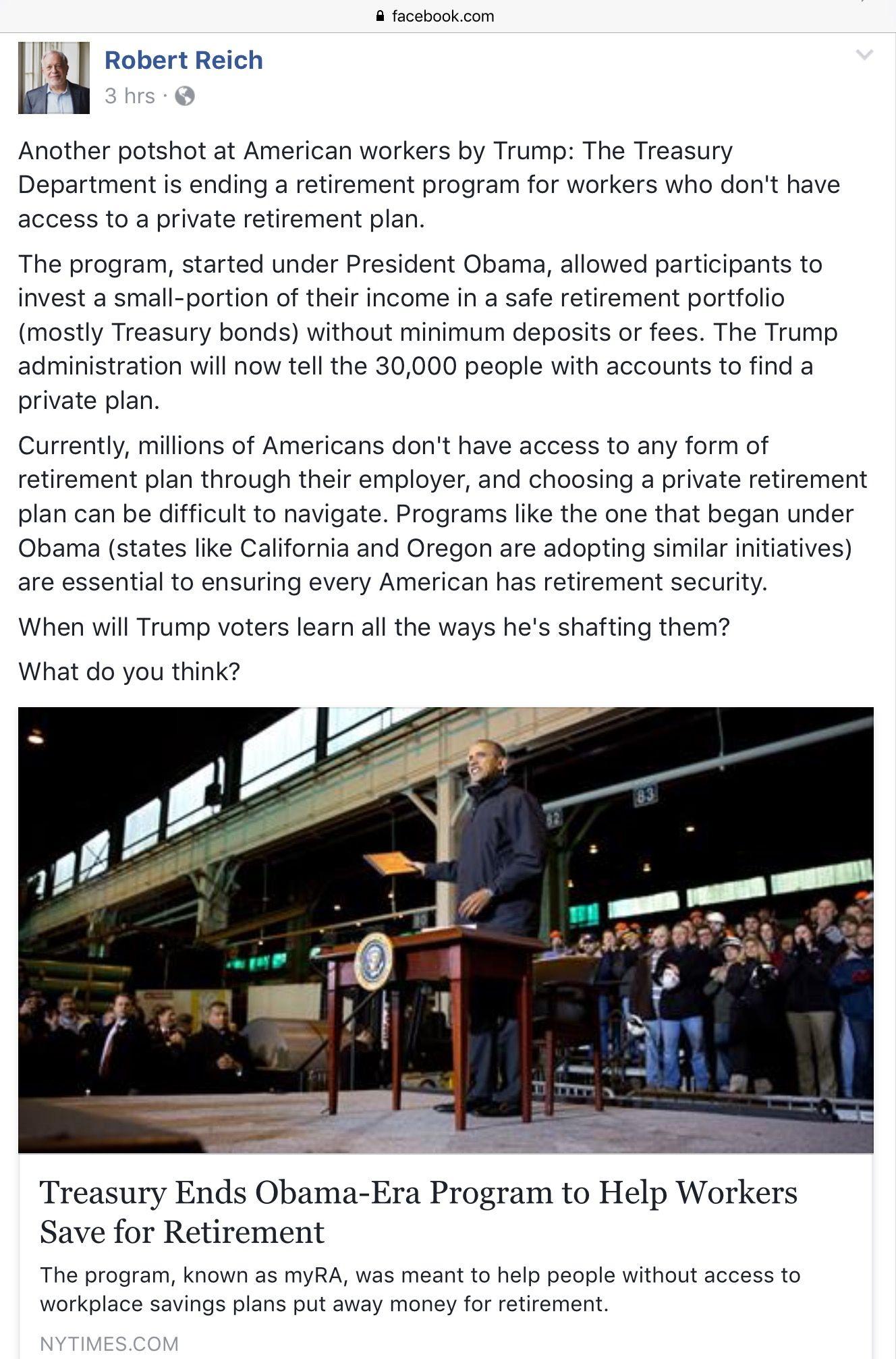 Treasury Ends ObamaEra Retirement Savings Plan  Random Stuff
