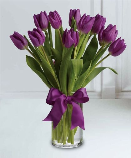 10 Purple Tulips A Classic Arrangement Featuring 1 Bunch Of Our Finest Purple Tulips Arranged In A Vase Accented W Purple Tulips Tulips Flowers Purple Flowers