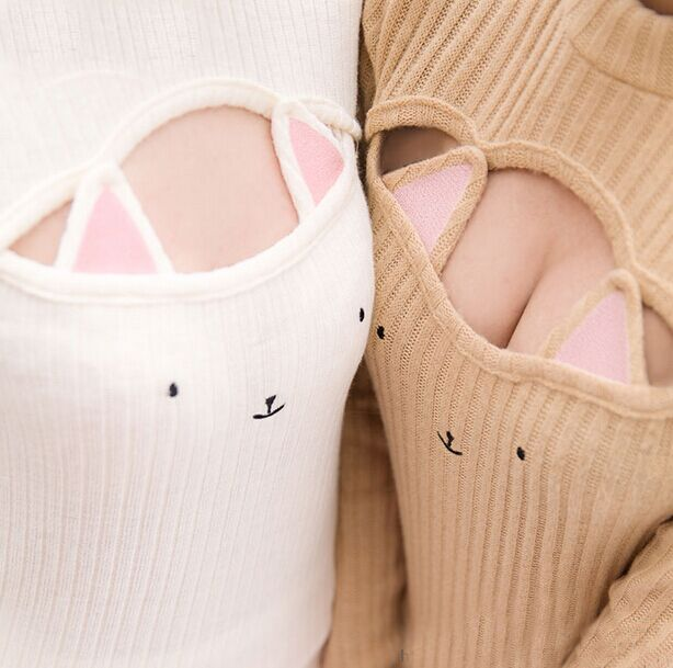 Hollow Chest Kitty Cat Keyhole Sweater from SYNDROME Kawaii ...