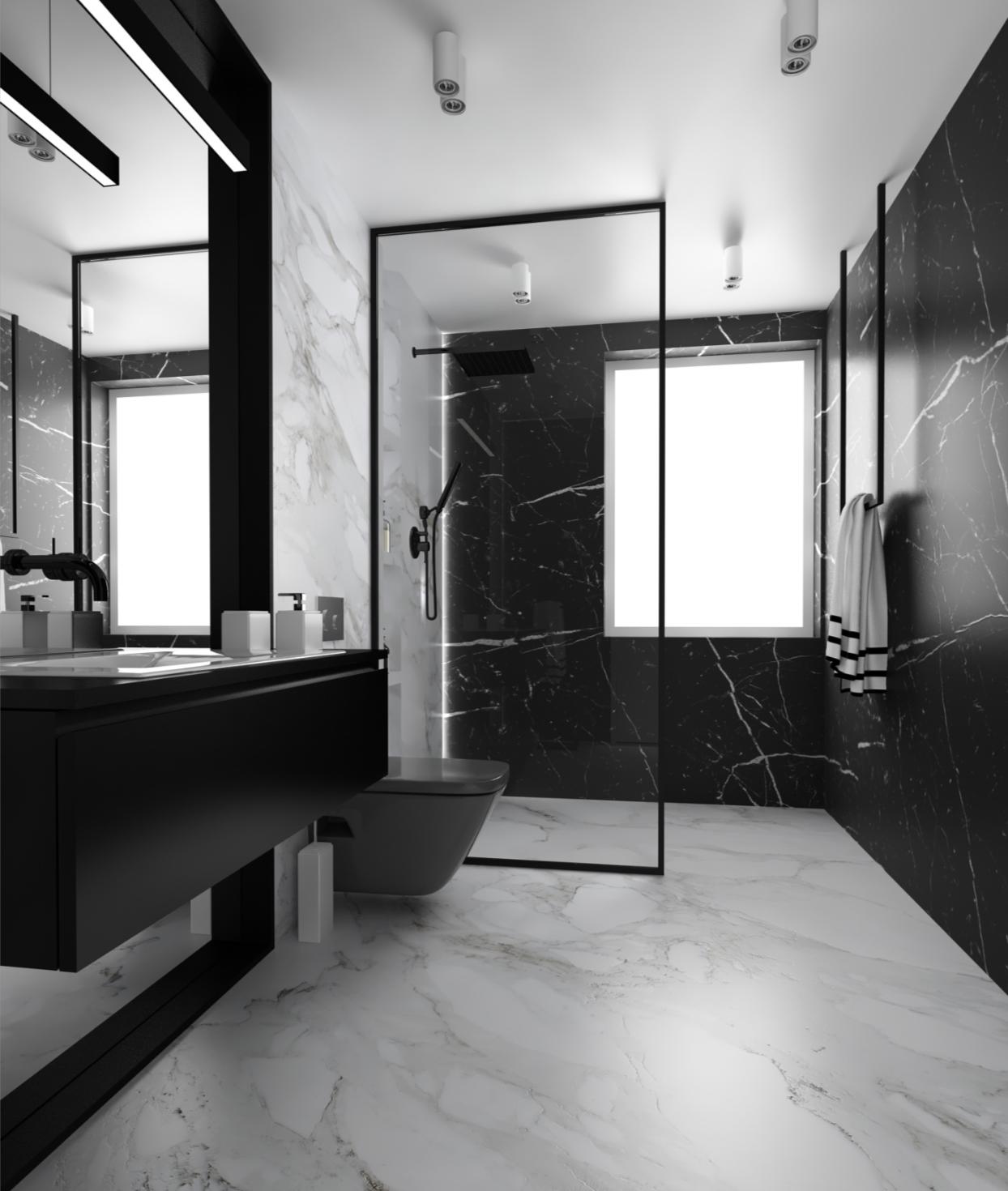 Photo of Czarno-biała łazienka by HOME DECO Showroom