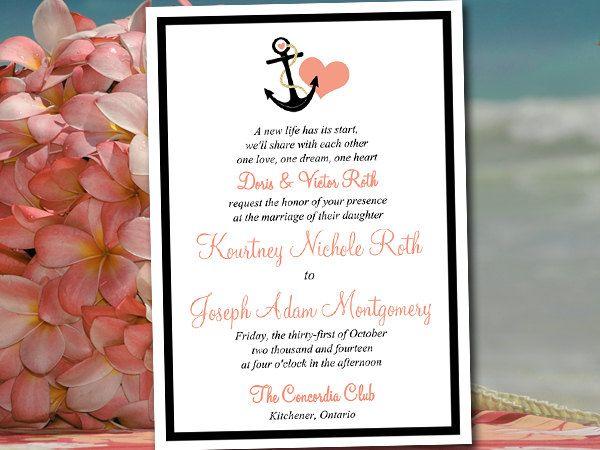 printable wedding invitation template nautical invitation coral