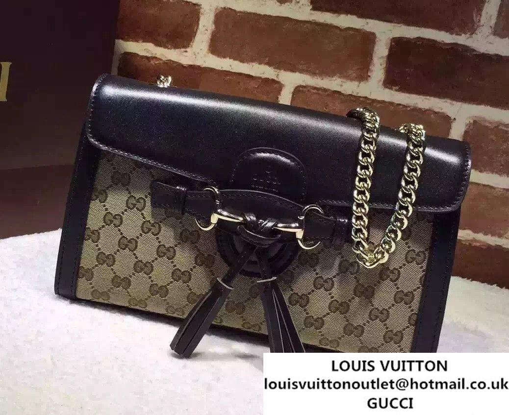 a103dff784f90 Gucci Emily Guccissima Leather Chain Shoulder Bag 295402 Black Apricot 2015