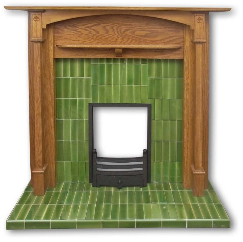 Voysey tiled fireplace insert for the snug Fireplaces