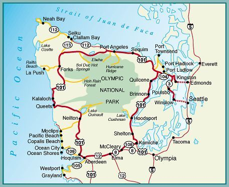 Camping Washington State Map.Map Of Olympic Peninsula We Spent A Week Camping Along The