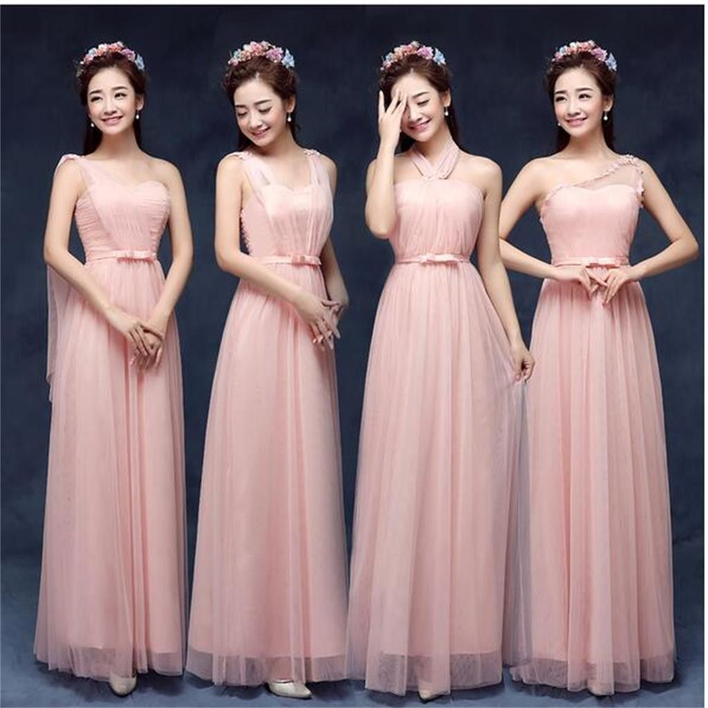 Mismatched Elegant Peach Sort Tulle Long Bridesmaid Dresses, Cheap ...