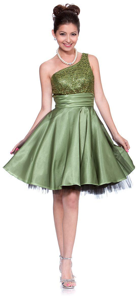 Apple Green One Shoulder Dresses