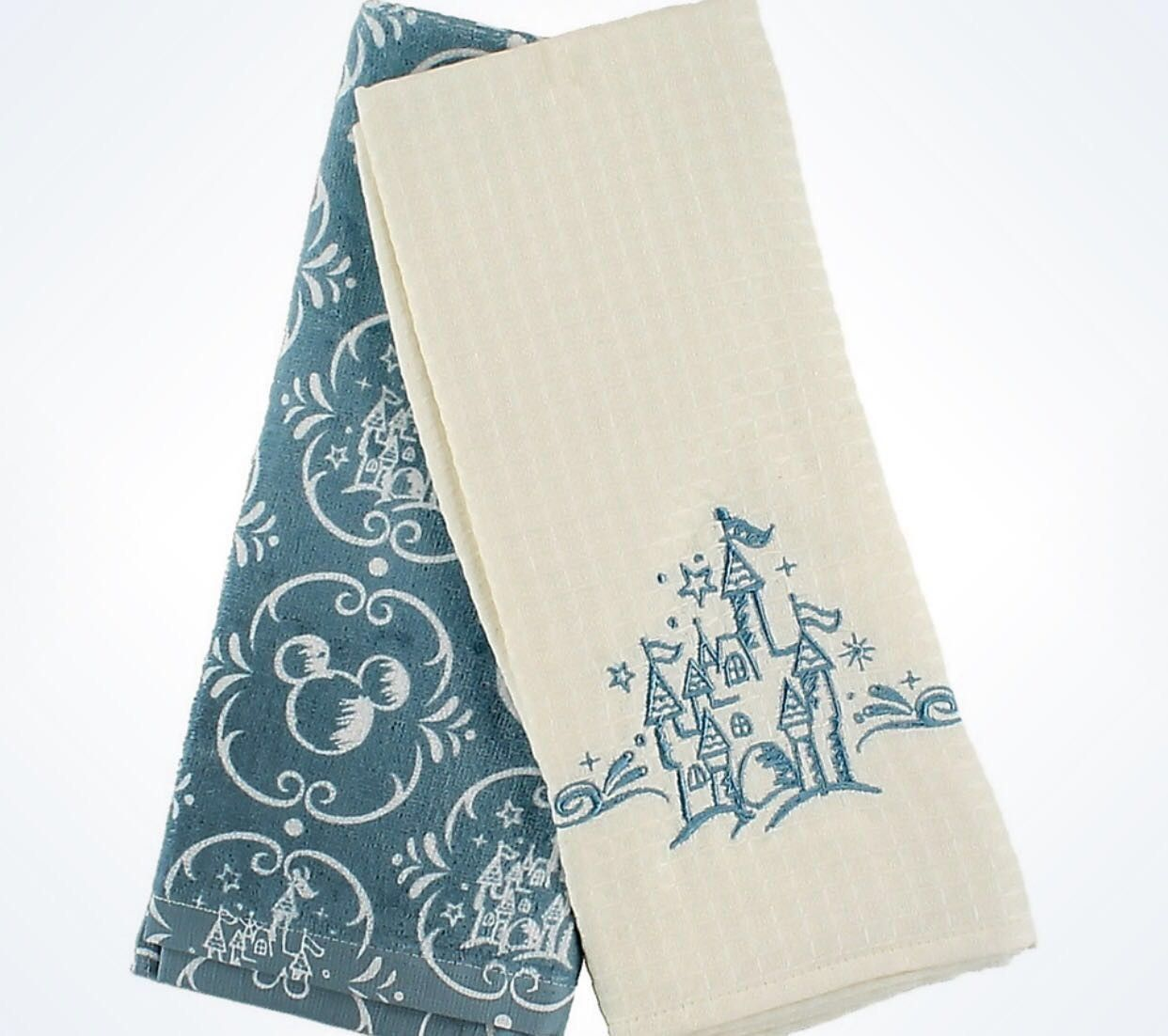 disney parks castle and mickey icons kitchen towel set new with