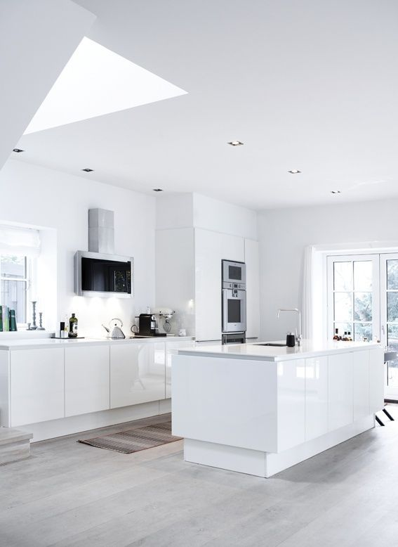 all white, glossy kitchen cabinet with soft ash wood floors ...