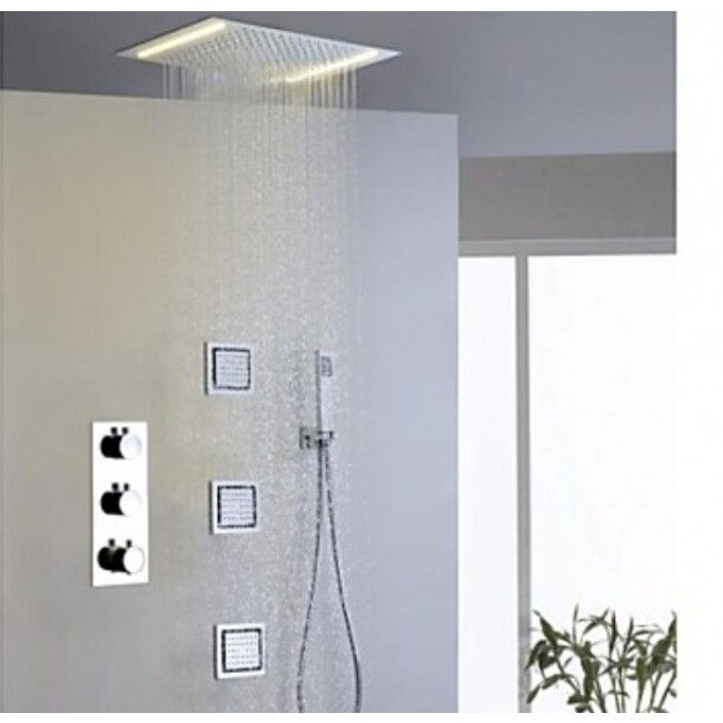 Milan 14 By 20 Recessed Mounted Led Shower Head With Body Massage