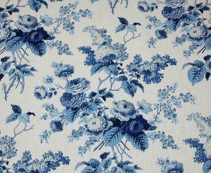 Waverly Emmas Garden Wedgewood Blue Porcelain White Floral Fabric