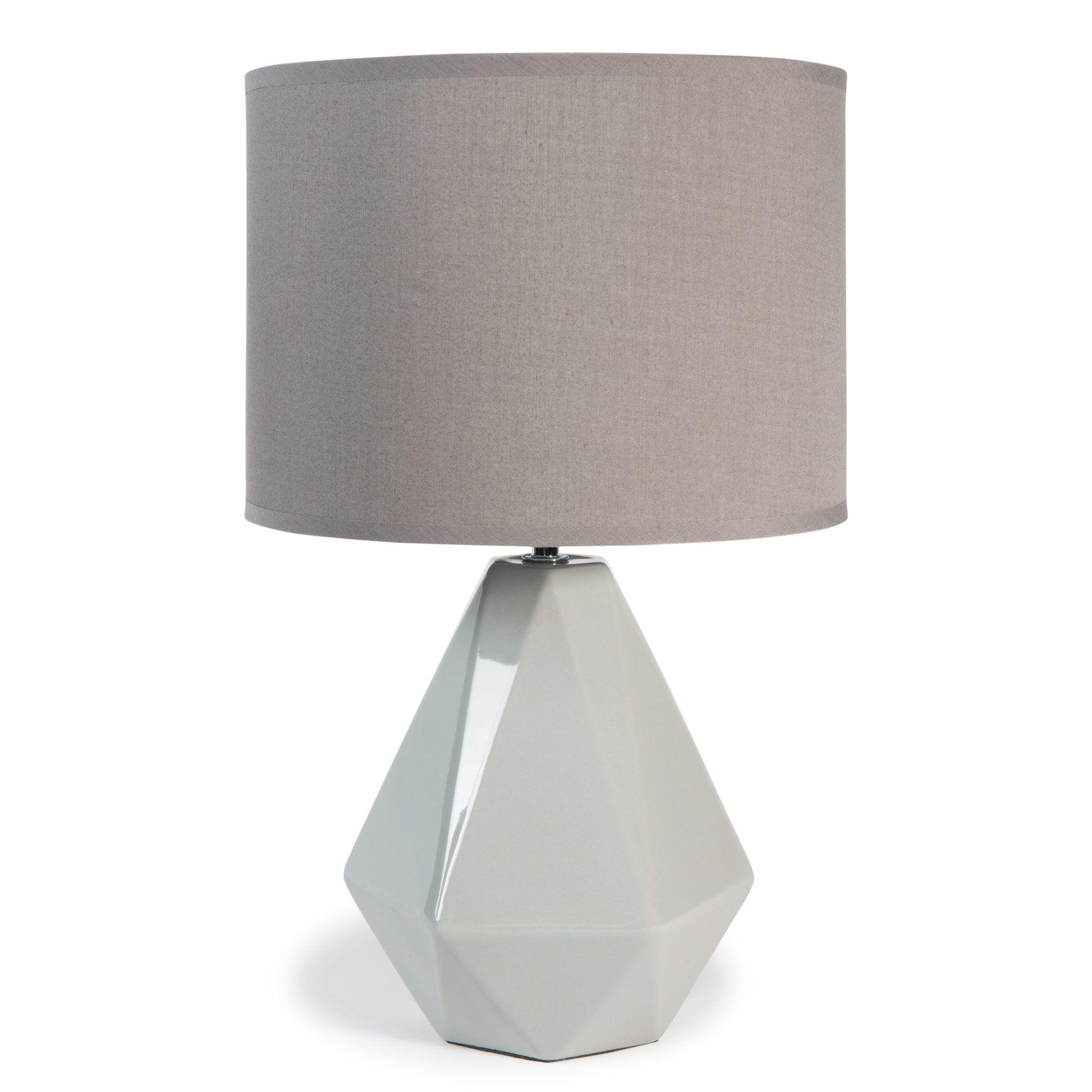 affordable lampe poser en cramique et tissu grise h cm. Black Bedroom Furniture Sets. Home Design Ideas
