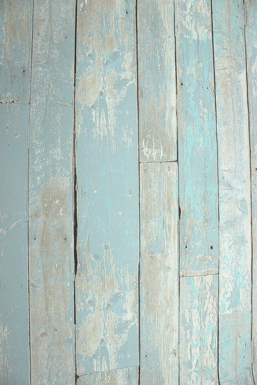 Vlies Tapete Antik Holz rustikal blau türkis beige verwittert ...