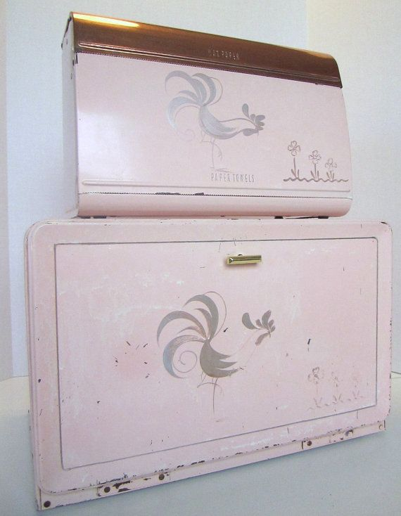Pink rooster breadbox and wax paper dispenser $95