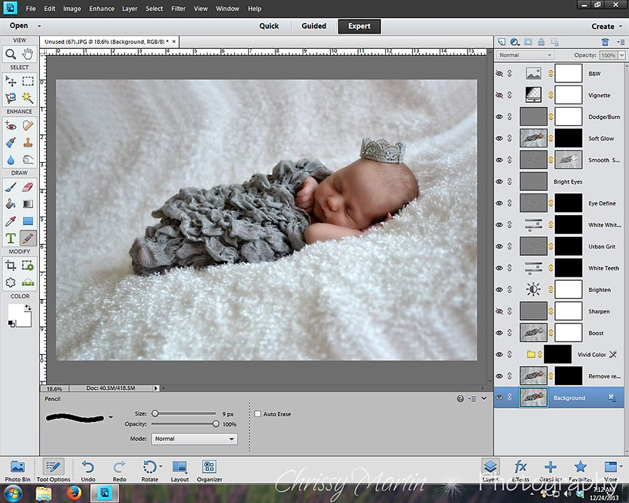 Edit a Newborn Photo with Free Actions in