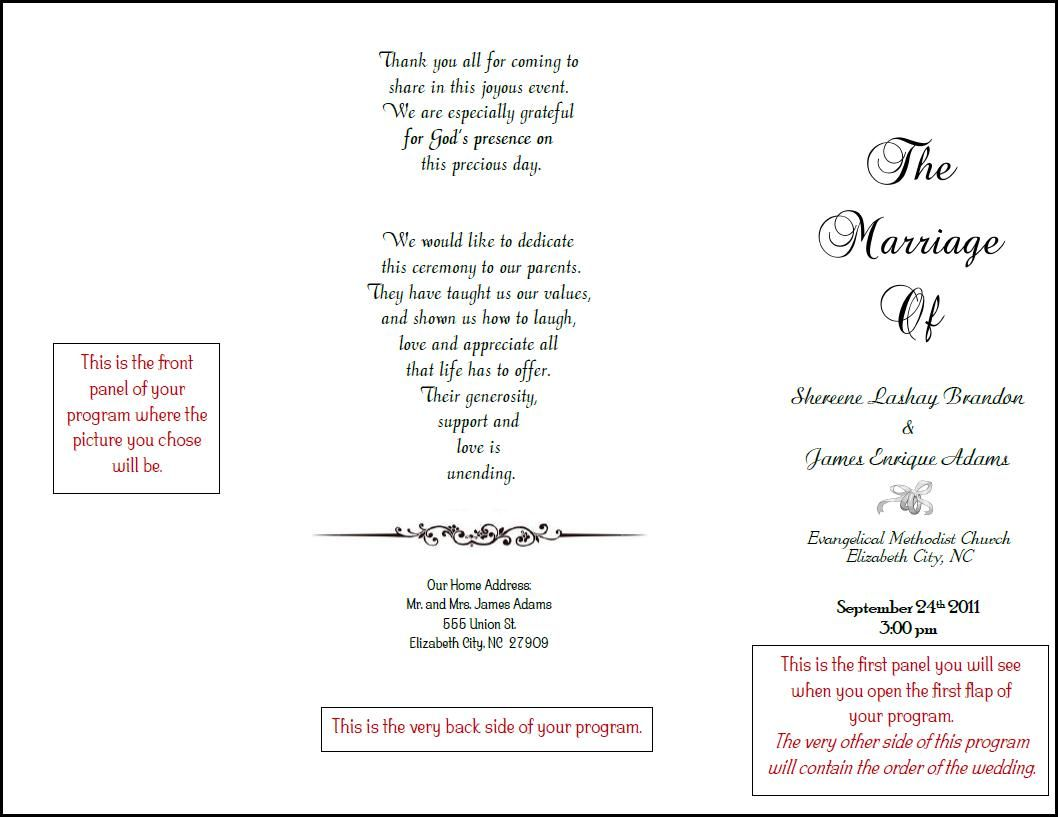 Our Very Fun  Informal Wedding Program Made In Microsoft