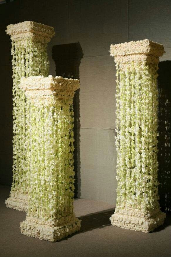 Preston Bailey Cover Pillars With Flowers Strung On Fishing Line
