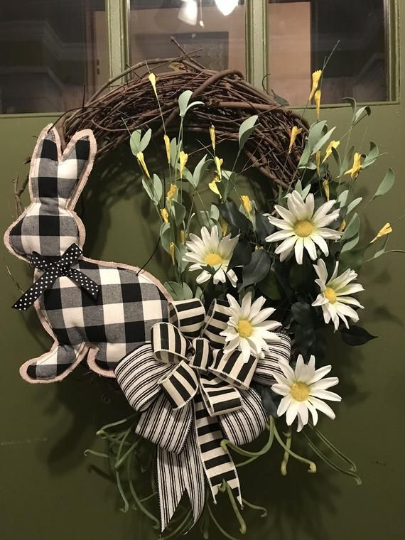 Photo of Perfect for Easter and Spring Black and White Bunny and Bow with Daisies Elegant…