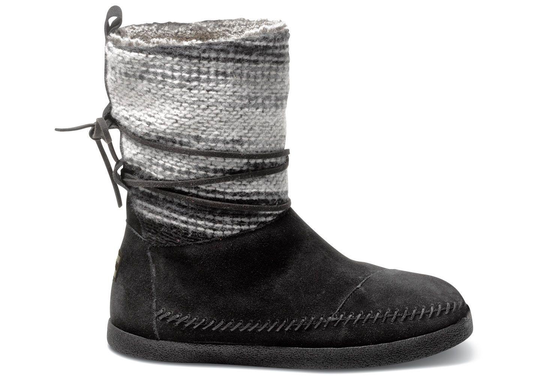 Black Wool Stripe Women's Nepal Boots by TOMS | Winter Boots