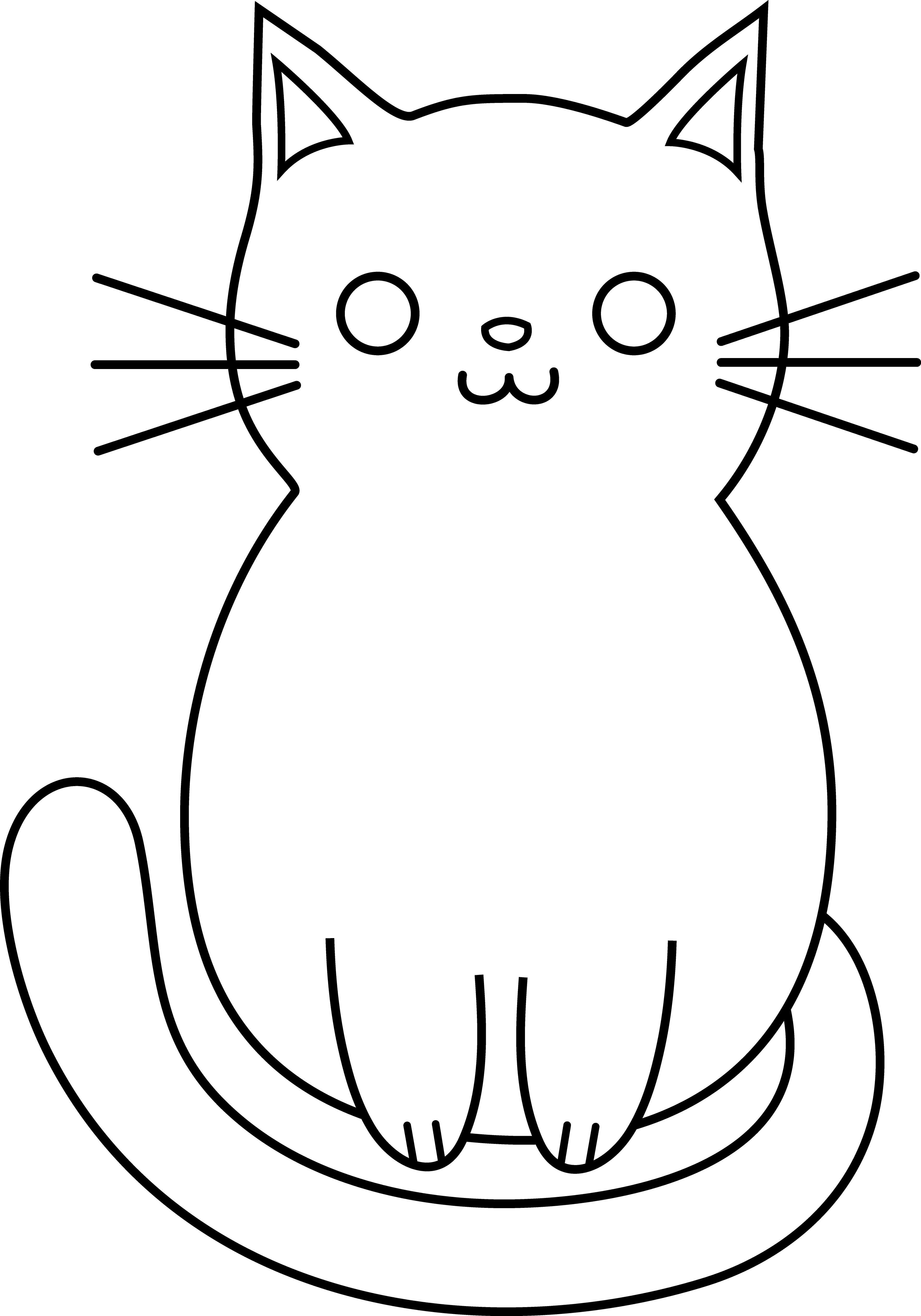Cat simple. Easy drawing pic face