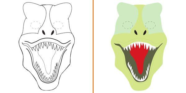 Maschera da tirannosauro da stampare colorare e costruire for Maschera di flash da colorare