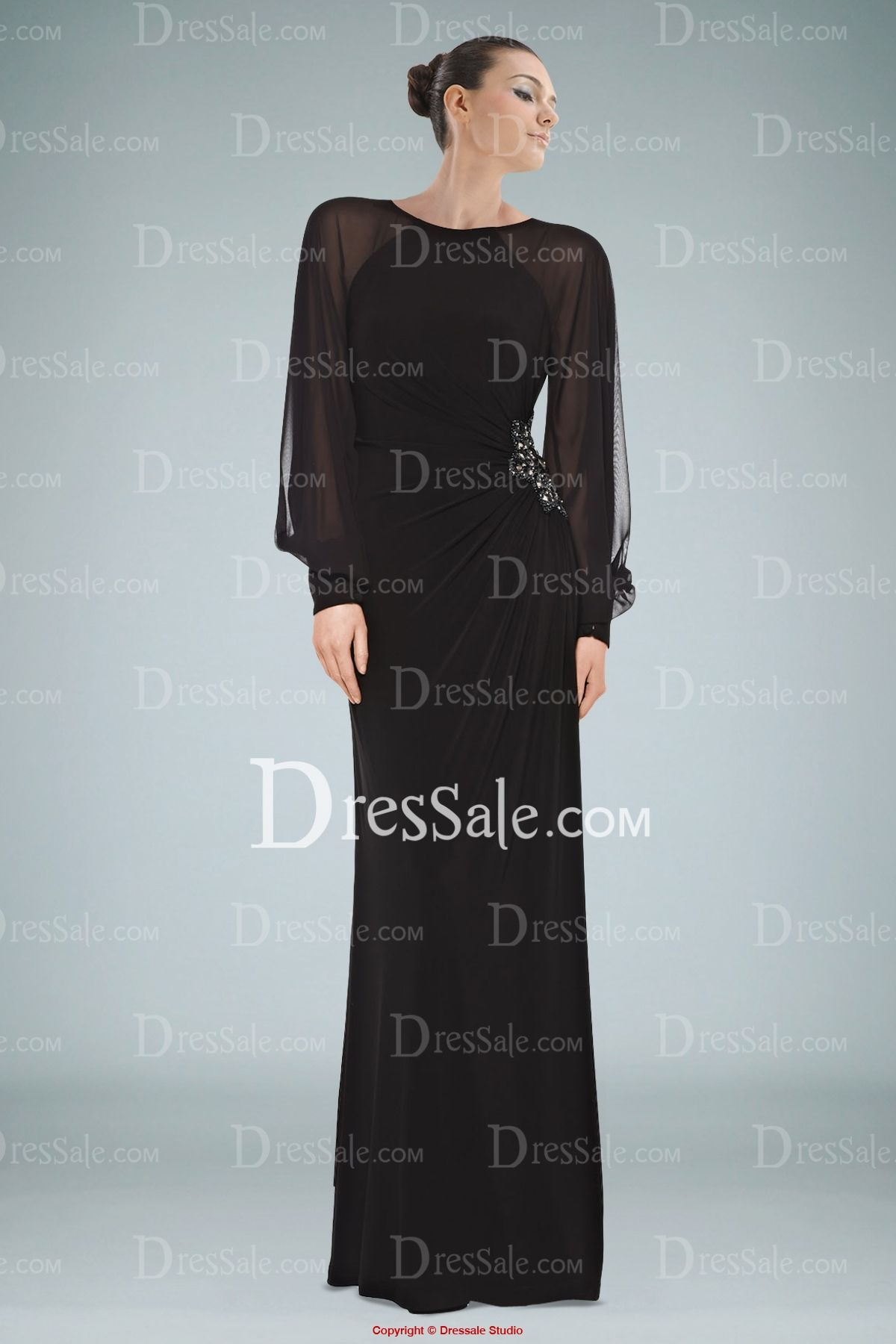 Amazing Black Long Sleeve Evening Gown with Beads and Keyhole Back ...