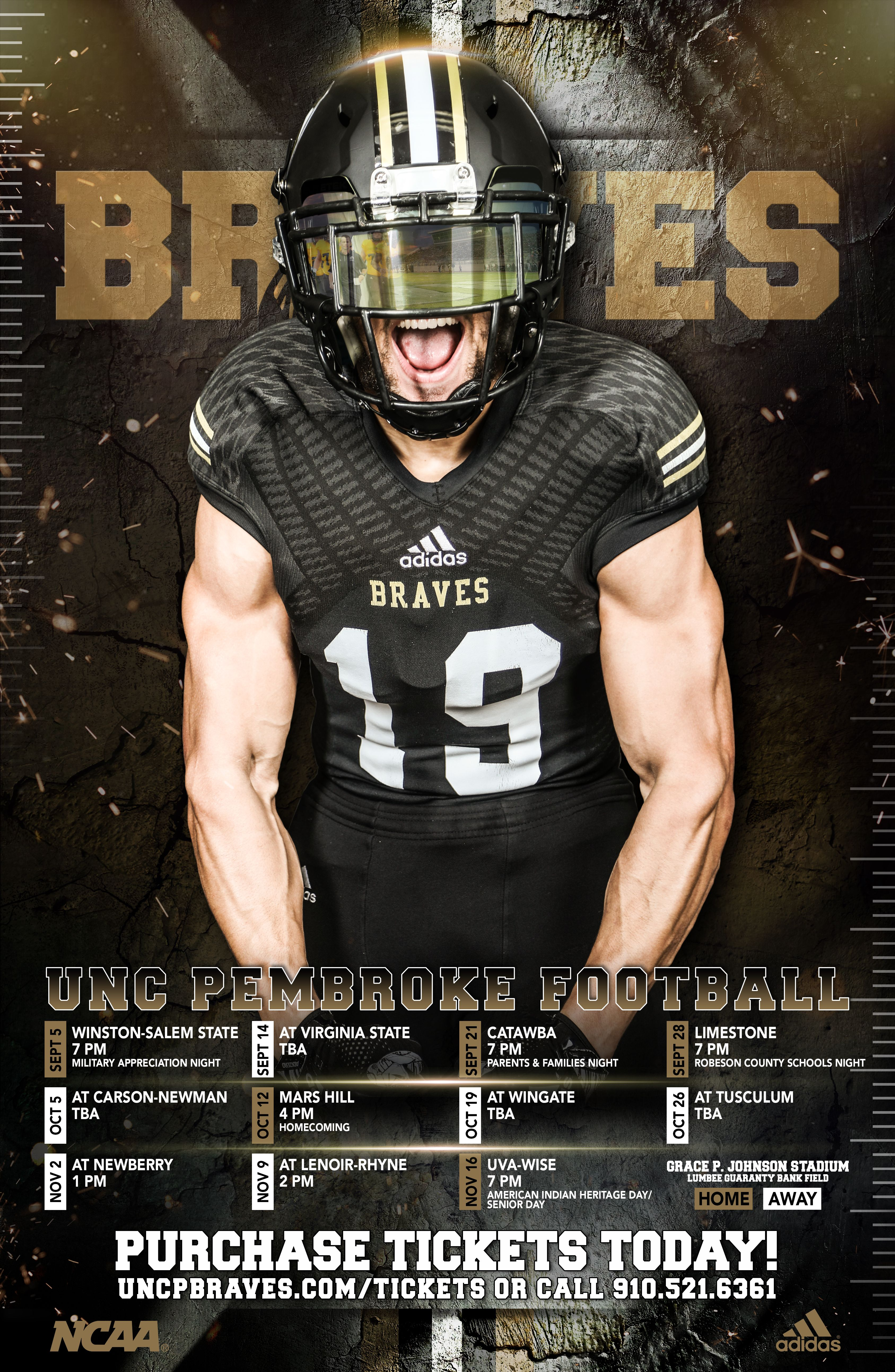 2019 Uncp Football Poster Unc Pembroke Football Poster Carson